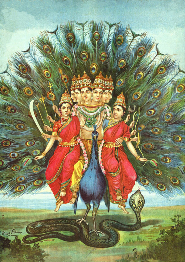 kartikeya with wives Devasena and Valli